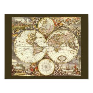 Antique World Map, c. 1680. By Frederick de Wit 11 Cm X 14 Cm Invitation Card