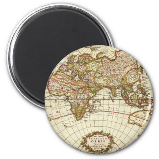 Antique World Map, c. 1680. By Frederick de Wit 6 Cm Round Magnet