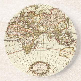 Antique World Map, c. 1680. By Frederick de Wit Coaster