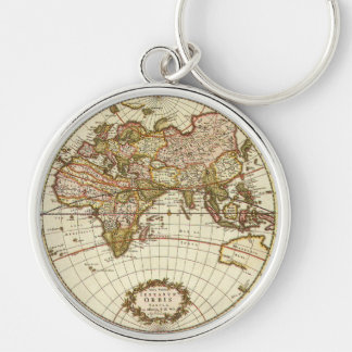 Antique World Map, c. 1680. By Frederick de Wit Key Ring