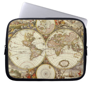 Antique World Map, c. 1680. By Frederick de Wit Laptop Sleeve