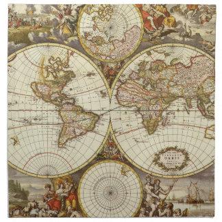 Antique World Map, c. 1680. By Frederick de Wit Napkin