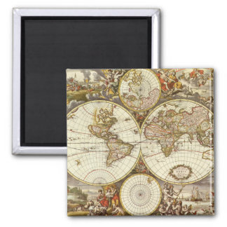 Antique World Map, c. 1680. By Frederick de Wit Square Magnet