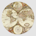 Antique World Map, c. 1680. By Frederick de Wit Round Stickers