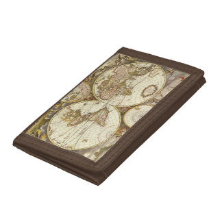 Antique World Map, c. 1680. By Frederick de Wit Trifold Wallet