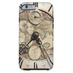 Antique world map clock iPhone four cover Tough iPhone 6 Case