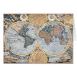 Antique world map cool greeting card