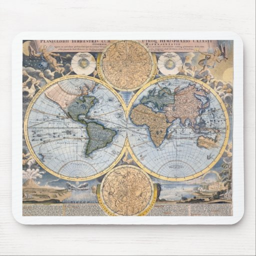 Antique world map cool mousepads