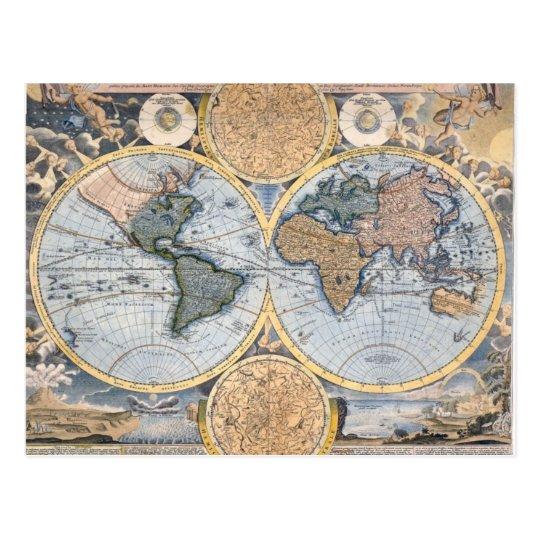 Antique world map cool postcard