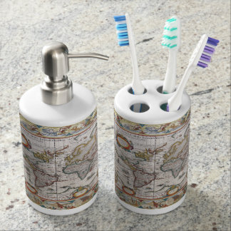 Antique World Map custom bathroom set
