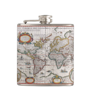 Antique World Map custom flask