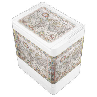 Antique World Map custom monogram cooler Igloo Cooler