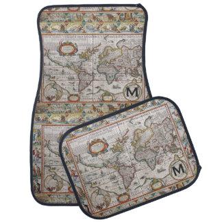 Antique World Map custom monogram floor mats
