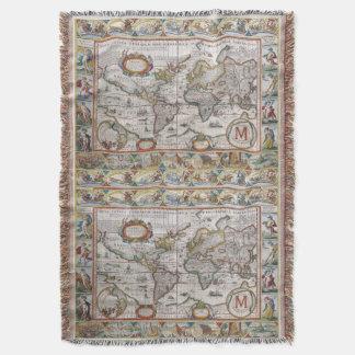 Antique World Map custom monogram throw blanket