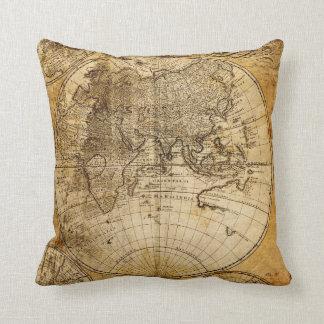 Antique World Map Custom Pillow