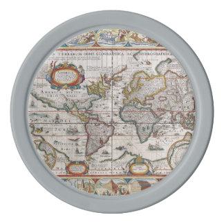 Antique World Map custom poker chips
