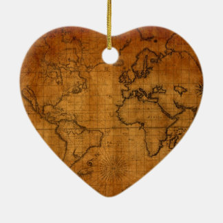 Antique World Map Ceramic Heart Decoration