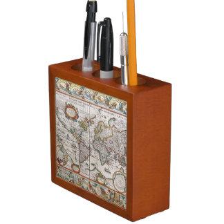 Antique World Map desk organizer