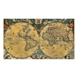 Antique World Map Distressed 2 Business Card Templates