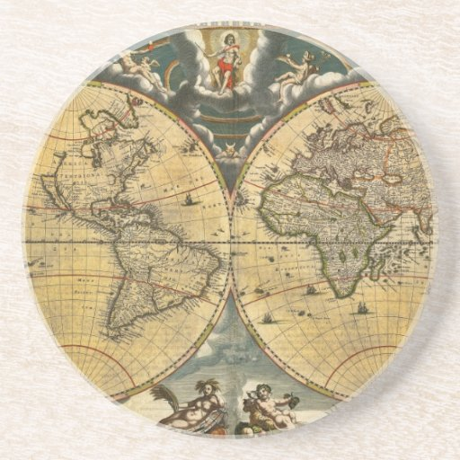 Antique World Map Distressed #2 Beverage Coasters