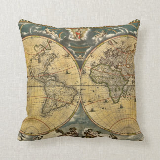 Antique World Map Distressed #2 Cushion