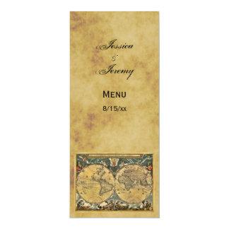 Antique World Map Distressed #2 Menu Cards 10 Cm X 24 Cm Invitation Card