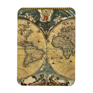 Antique World Map Distressed #2 Flexible Magnets