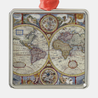 Antique World Map Distressed #3 Christmas Ornament