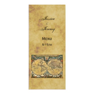 Antique World Map Distressed #3 Menu Cards 10 Cm X 24 Cm Invitation Card
