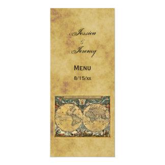 "Antique World Map Distressed #3 Menu Cards 4"" X 9.25"" Invitation Card"
