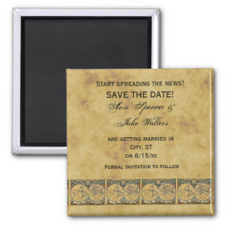 Antique World Map, Distressed BG #2 Save the Date Square Magnet