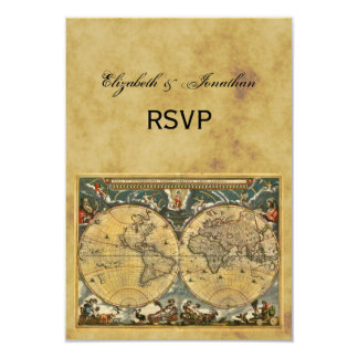 Antique World Map, Distressed BG RSVP 9 Cm X 13 Cm Invitation Card