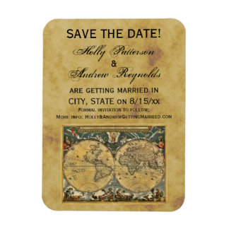Antique World Map, Distressed BG Save the Date Vinyl Magnets