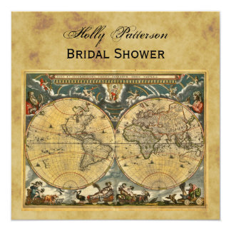 "Antique World Map, Distressed BG SQ Bridal Shower 5.25"" Square Invitation Card"
