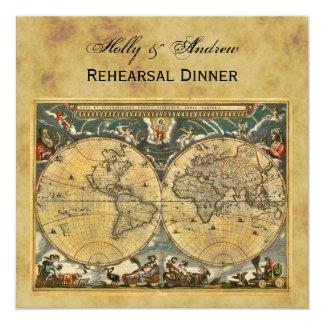Antique World Map, Distressed BG SQ Rehearsal Din 13 Cm X 13 Cm Square Invitation Card