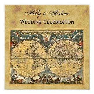 Antique World Map, Distressed BG SQ Wedding 13 Cm X 13 Cm Square Invitation Card