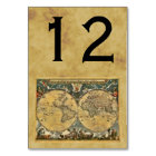 Antique World Map, Distressed BG Table Number