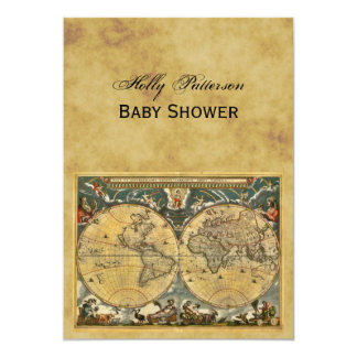 Antique World Map, Distressed BG V Baby Shower Card