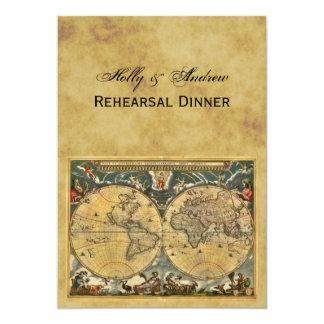 Antique World Map, Distressed BG V Rehearsal Din 13 Cm X 18 Cm Invitation Card