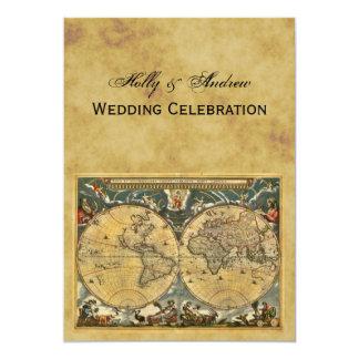 Antique World Map, Distressed BG V Wedding 13 Cm X 18 Cm Invitation Card