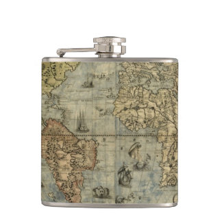 Antique World Map elegant flask