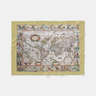 Antique World Map fleece blanket