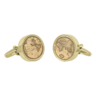 Antique World Map Gold Finish Cufflinks