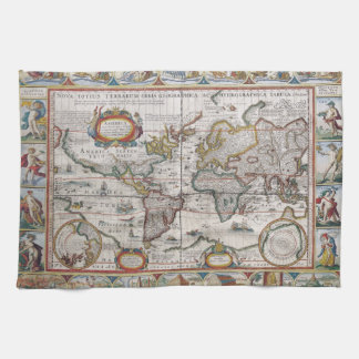 Antique World Map hand towels