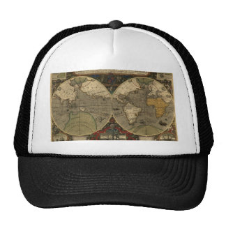 Antique World Map Mesh Hats