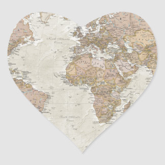 Antique World Map Heart Sticker