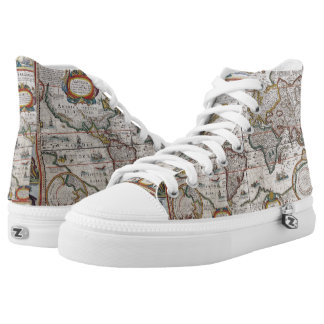 Antique World Map high top shoes