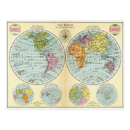 Antique World Map in Hemispheres Postcard