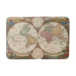 Antique World Map in two Hemispheres Bath Mats