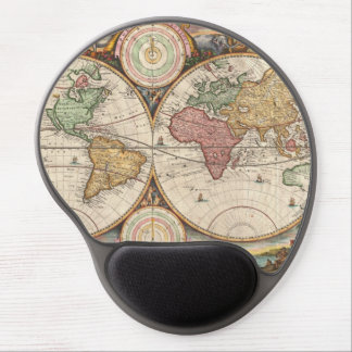 Antique World Map in two Hemispheres Gel Mouse Mat